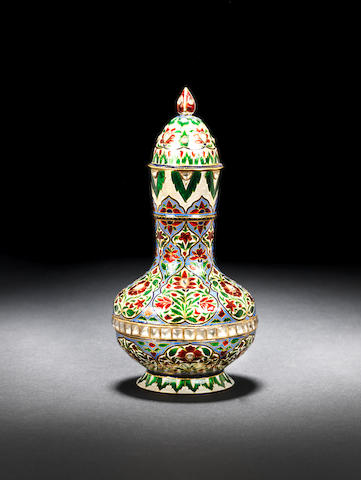 An enamelled gold scent bottle and lid Jaipur, 20th Century