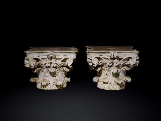 A pair of Roman marble Corinthian column capitals 2