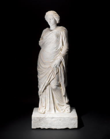A Roman marble figure of a goddess