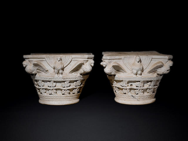 A pair of Byzantine limestone column capitals 2