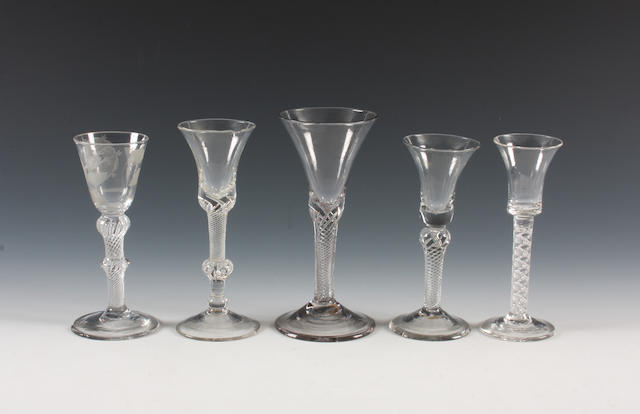 A Jacobite airtwist wine glass, a composite stem wine glass and three other airtwist wine glasses Circa 1750-60.