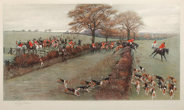"Cecil Charles Windsor Aldin, RBA (British, 1870-1935) The South Berkshire ""Away from Pearman's Covert"" lithograph, signed in pencil lower left, 37 X 62cm together with a lithograph after Lionel Edwards 2"