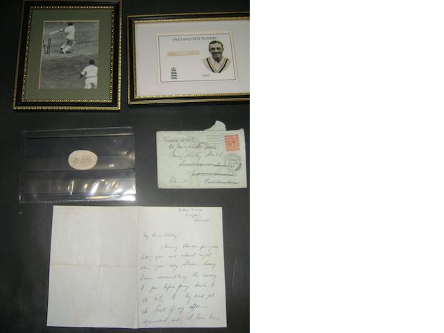 Letter from Wally Hammond, Don Bradman/Larwood photograph, framed Hammond signature, Jack Hobbs signature