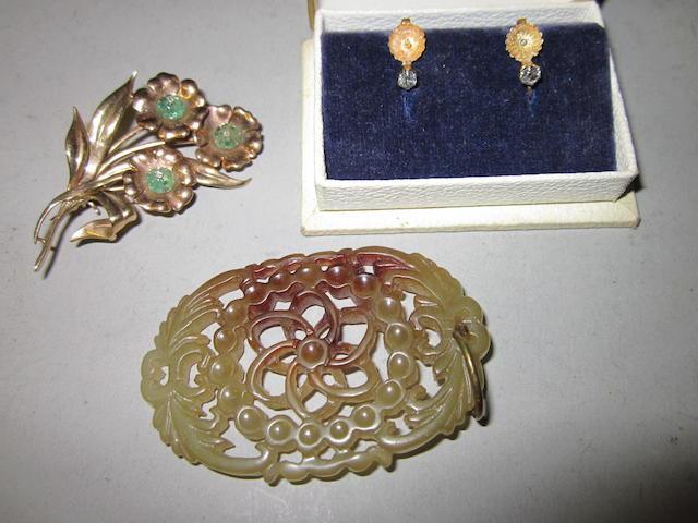 A pierced mutton-fat jade pendant, (3)