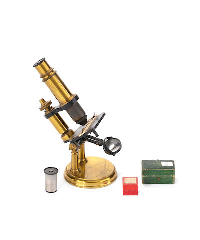 A Constant Vérick compound monocular microscope,  French,  third quarter of the 19th century,