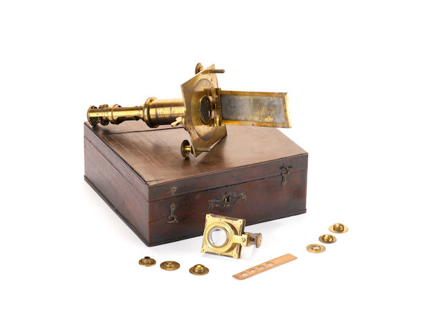 A Henry Shuttleworth brass solar microscope, English, late 18th century,