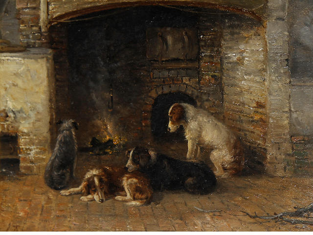 Attributed to Thomas Smythe (British, 1825-1906) Dogs by the hearth
