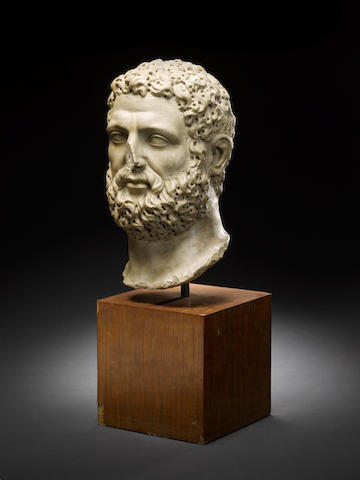 A Roman marble head of Herakles