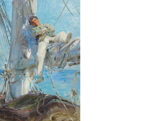 Henry Scott Tuke, R.A., R.W.S. (British, 1858-1929) Sleeping Sailor  unframed