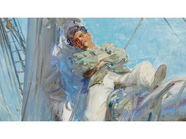 Henry Scott Tuke, R.A., R.W.S. (British, 1858-1929) Sleeping Sailor unframed