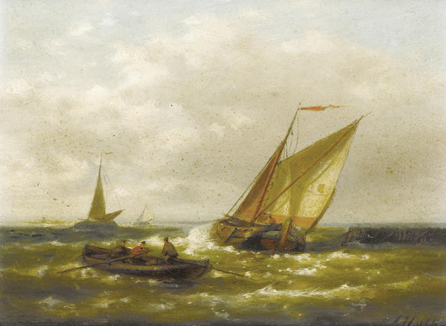 Abraham Hulk (Dutch, 1813-1897) A Dutch barge running out to sea on the tide with other craft beyond