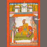 Hindol raga: a prince on a swing within a small pavilion with two female attendants to either side Bilaspur, circa 1700