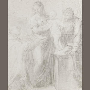 Italian School, 17th C, Holy Family - drawing on blue-grey prepared paper, for research