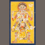 A composite tantric deity holding artifacts of worship, his body composed of Hindu deities with their consorts, animals and mythical figures, including a leopard and a simurgh Pahari, circa 1830
