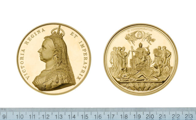 Golden Jubilee of Queen Victoria 1887, Gold medal, 58mm, Jubilee bust left, VICTORIA REGINA ET IMPERATRIX,