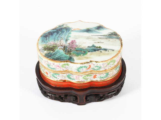 A Chinese famille rose lobed box and cover