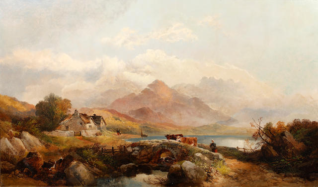 Joseph Horlor (British, 1809-1887) Welsh lakeside view with cattle and figures on a bridge