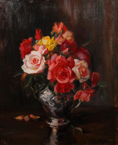 Kate Wylie (British, 1877-1941) Roses in a vase
