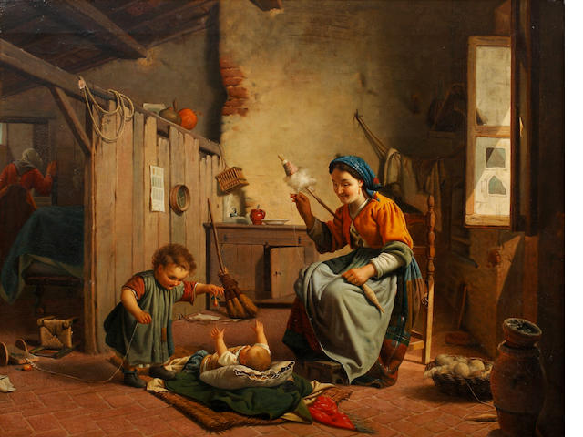 Italian school, 19th Century  A wool-winder with her young child and baby