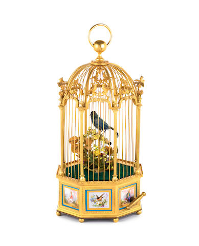 A fine and early gilt and servés panel singing bird-in-cage, by Bontems, circa 1870,