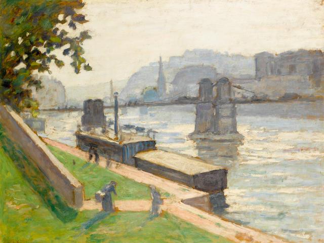 Albert André (1869-1954) La Saône à Lyon