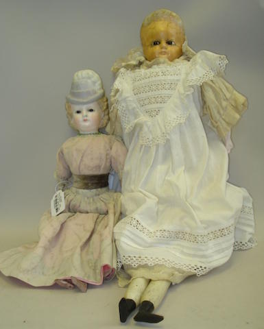 Two wax over composition 'Pumpkin head' dolls 2