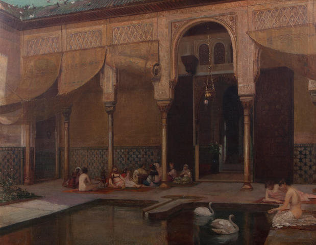 (n/a) Filippo Baratti (Italian, active circa 1868-1901) Feeding swans in the harem
