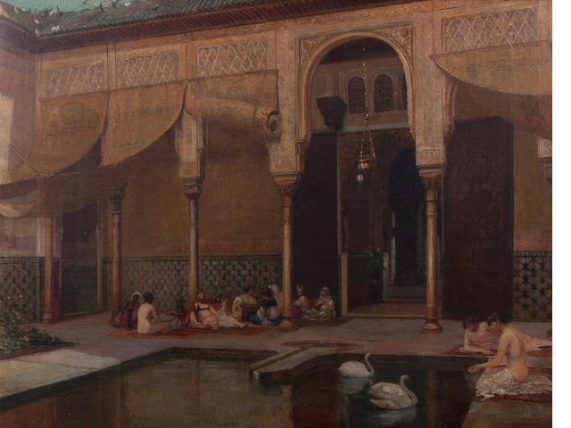Filippo Baratti, Feeding swans in the Harem