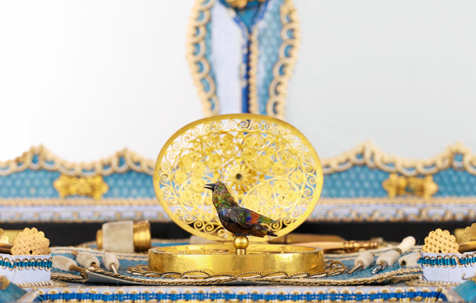 An important singing bird et carde-de-visite necessaire compendium, French movement circa 1870, gilt fittings and inlaid ebonised case for the English market,