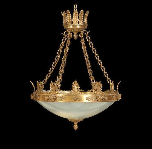 An Empire style gilt metal plafonnier