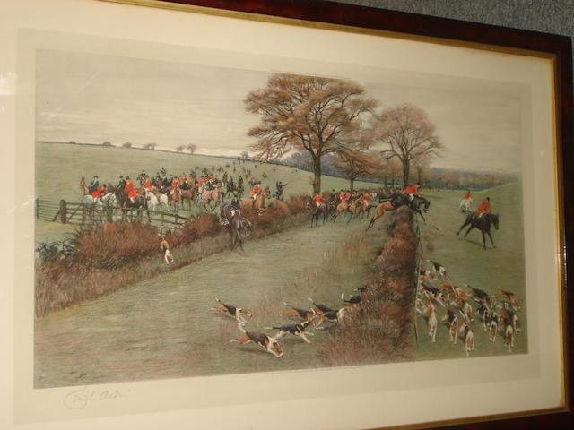 Cecil Charles Windsor Aldin, RBA (British, 1870-1935) Hunting a scene