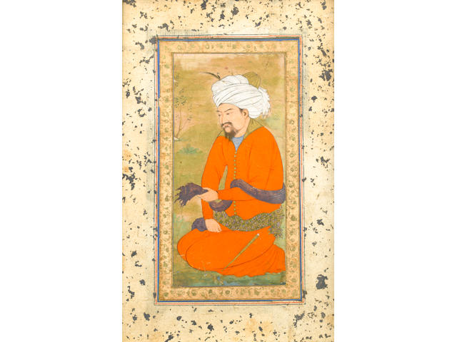 A courtier wearing a crimson jama and a white turban kneeling in a landscape Mughal, circa 1630