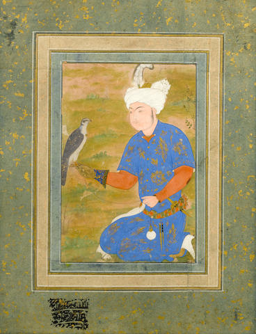 A portrait of a kneeling royal prince with a falcon Safavid Persia, probably Tabriz, circa 1540-70, landscape added in Mughal India in the 17th Century