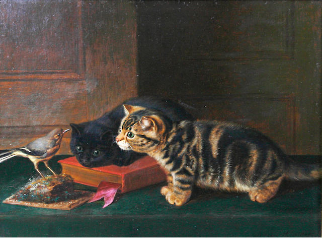 Horatio Henry Couldery (British, 1832-1893) Two curious kittens and a chaffinch