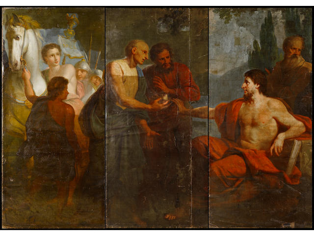 Circle of Antonio Bellucci (Pieve di Soligo 1654-1726) Caesar refusing the crown unframed