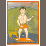 Siva standing in a landscape holding a trident, a dog at his feet Bengal, circa 1770