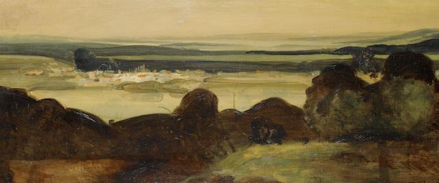 André Derain (1880-1954) Paysage du midi-les digues au crépuscule