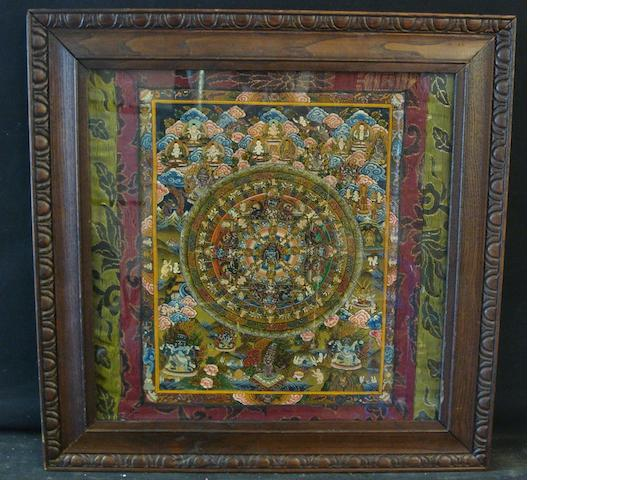 A framed Thangka, probably Tibetan Late 19th/early 20th Century