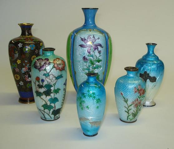 A group of small Chinese silver and enamel vases Early 20th Century