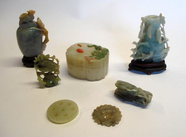 A group of jade items
