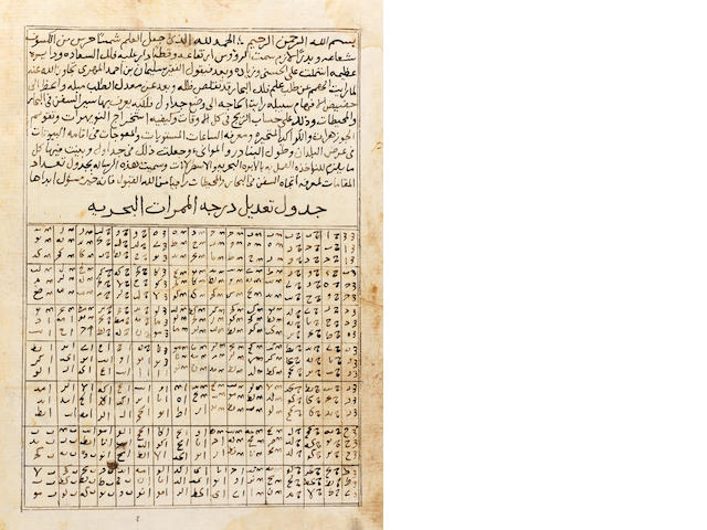 Suleyman bin Ahmad al-Mahri al-Najdi, Jadawil Ta'dad al-Maqamat li ma'rafat itijah al-Sufun fi al-Bihar wa al-Muhitat, a treatise on maritime navigation with numerous tables Near East, dated (on title page) dated AH 1004/AD 1595-96 or later