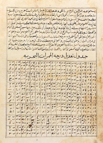 Suleyman bin Ahmad al-Mahri al-Najdi, Jadawil Ta'dad al-Maqamat li ma'rafat itijah al-Sufun fi al-Bihar wa al-Muhitat, a treatise on maritime navigation with numerous tables Near East, dated (on title page) dated AH 1004/AD 1595-96 or later