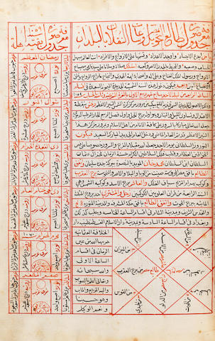 Mahmud bin Qutb-al-Din al-Miqati al-Mahali, Nihayat al-Idrak fi Dirayat taqasim al-Aflak wa Ahkam al-Dalalat wa al-Imtizajat, a treatise on astronomy, with diagrams, copied by 'Ali bin Abdul-Qadir al-Nabatibti, timekeeper at the al-Azhar Mosque probably Egypt, dated 14th Muharram 1060/17th January 1650 or later