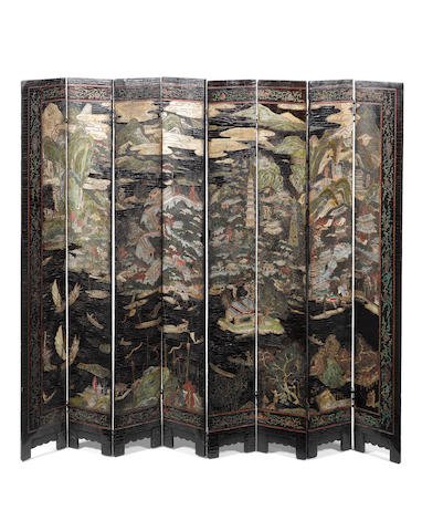 One eight-leaf carved lacquer screen