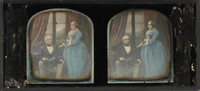 Claudet, Stereoscopic daguerreotype, handcoloured
