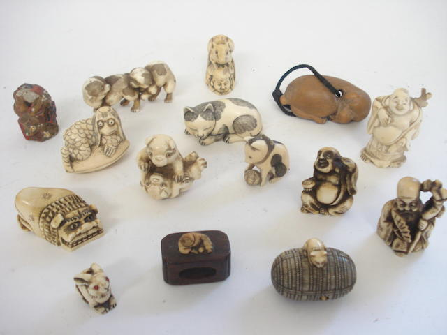 Fifteen various netsuke and other carvings