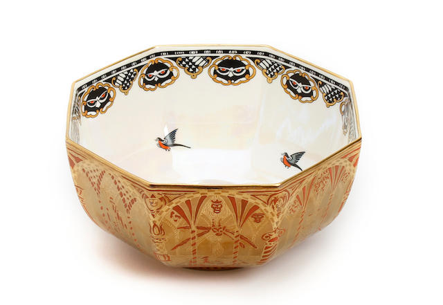 A Wedgwood lustre 'Coral and Bronze' pattern bowl Circa 1925