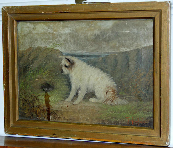 J Langlois (British, 19th Century) Terrier at a rabbit hole