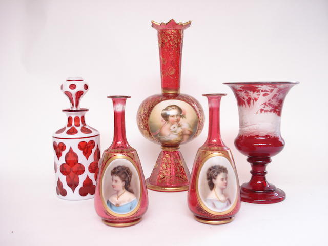 A Bohemian ruby flashed glass vases 19th century