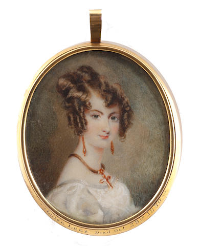 Circle of Alfred Edward Chalon, RA (British, 1780-1860) A Lady, called Luise Lees, wearing white dress, a gold cross on a brown cord suspended from her neck, gold pendent earrings, her brown hair curled and upswept
